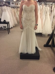Wtoo Ivory/Champagne Tulle and Lace 18724-lapis Casual Wedding Dress Size 10 (M)