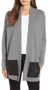 Eileen Fisher Lofty Recycled Cashmere Leather Pockets Cardigan