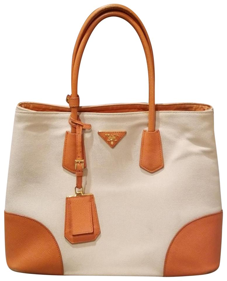 f5528a5e459e Prada Double Cuir Tote Saffiano Medium Orange and Beige Canvas ...