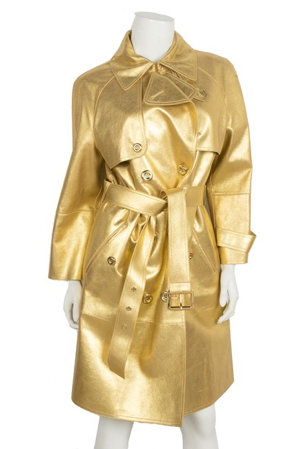 Item - Gold Metallic Leather Double-breasted Coat Size 12 (L)