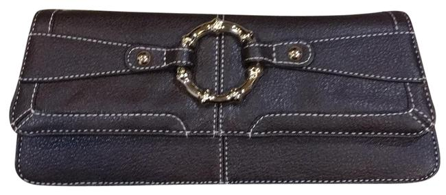 Item - Bamboo Ring Brown Faux Leather Clutch