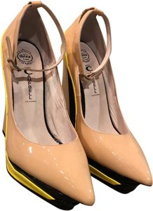 Jeffrey Campbell nude and neon yellow Platforms