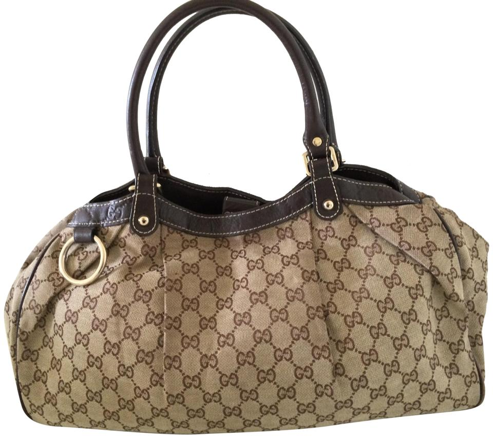 86b7ced9c520f3 Gucci Sukey Gg Large Brown Canvas Tote - Tradesy