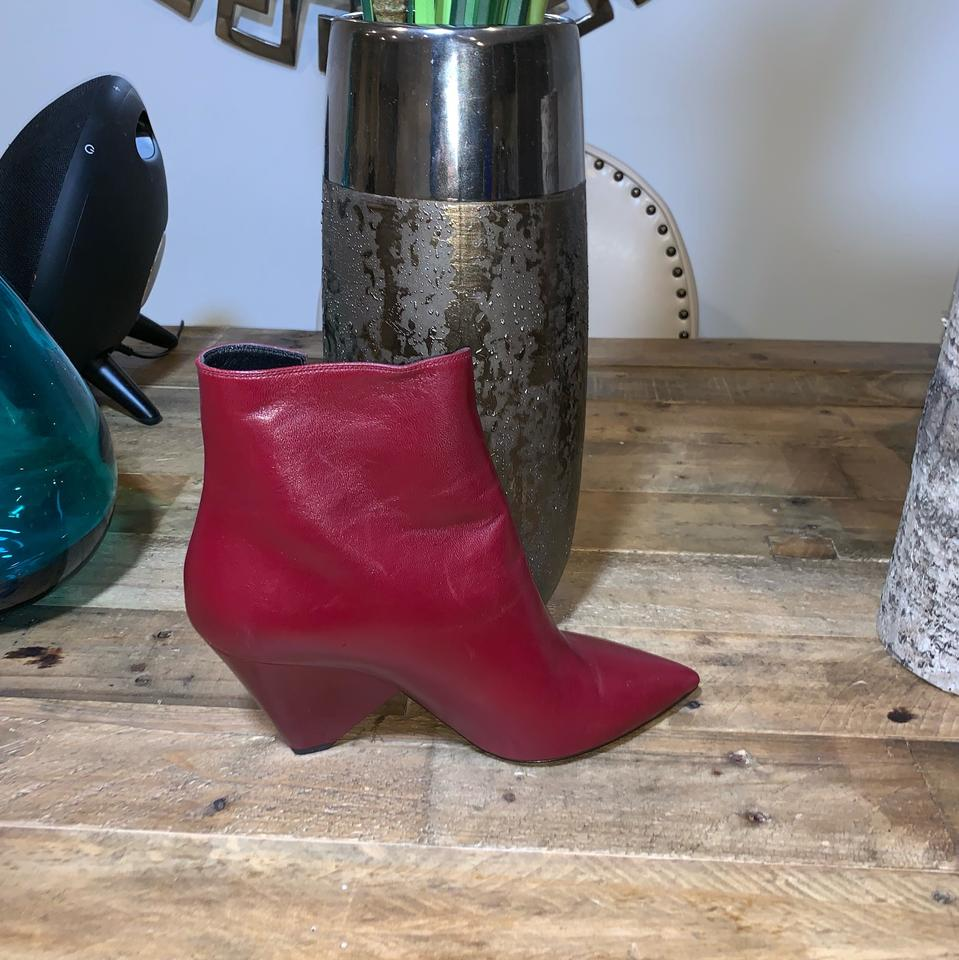 1635a465f4e6 Saint Laurent Red Niki Wedge Ankle Boots Booties Size EU 39.5 ...