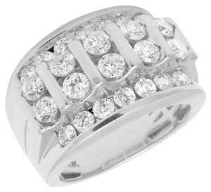 Jewelry Unlimited 10K White Gold Real Diamond Channel Set Mens Pinky Ring 3.28 CT