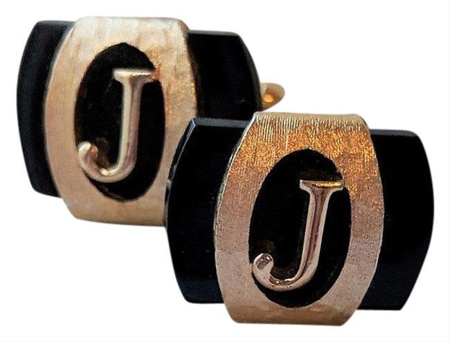 "Item - Gold/Black Reserved For Debra.... Vintage Brushed ""J"" Cufflinks"
