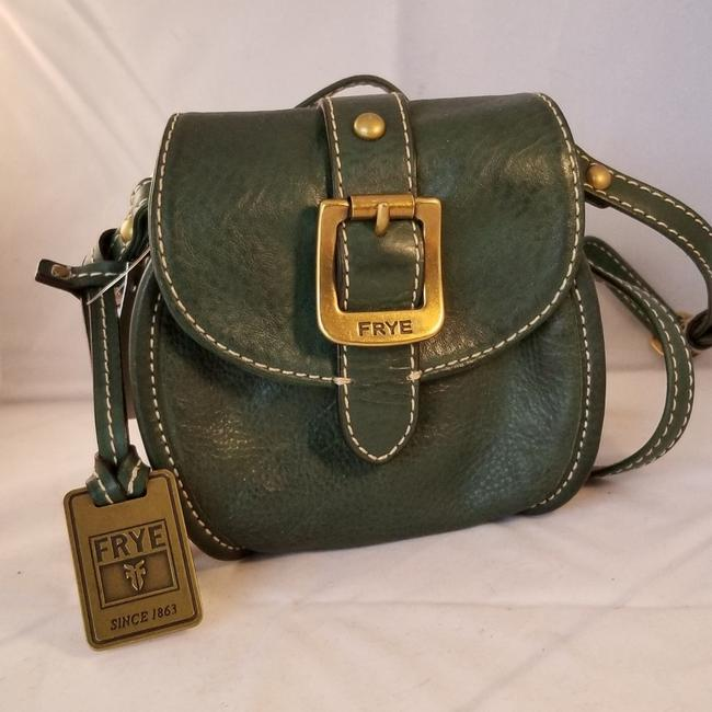 Frye Never Used Round Double Zipper Compartments Adjustable Strap Green Leather Cross Body Bag Frye Never Used Round Double Zipper Compartments Adjustable Strap Green Leather Cross Body Bag Image 1