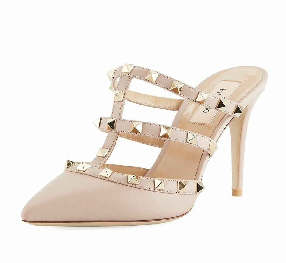 bb61f6f1d75b Valentino Studded Pointed Toe Leather Ankle Strap Branded Insole Nude Pumps  Image 0 ...