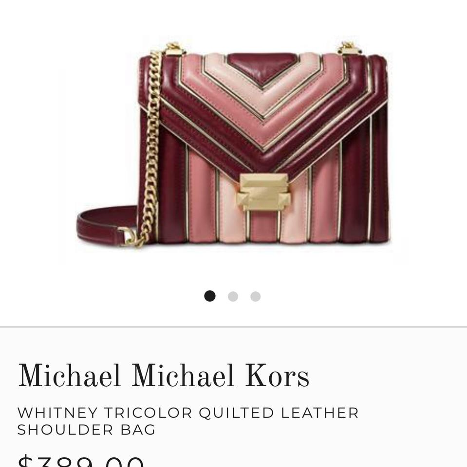 66aba33a31a0 Michael Kors Whitney Large Quilted Tri-color Convertible Multicolor Oxblood  Cowhide Leather Shoulder Bag