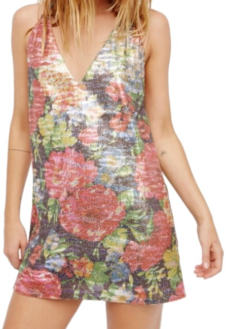 Item - Silver/Multi Sequin Tangier Floral Short Night Out Dress Size 0 (XS)