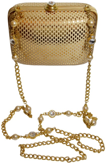 Item - Evening Crystal Chain Gold Satin Clutch