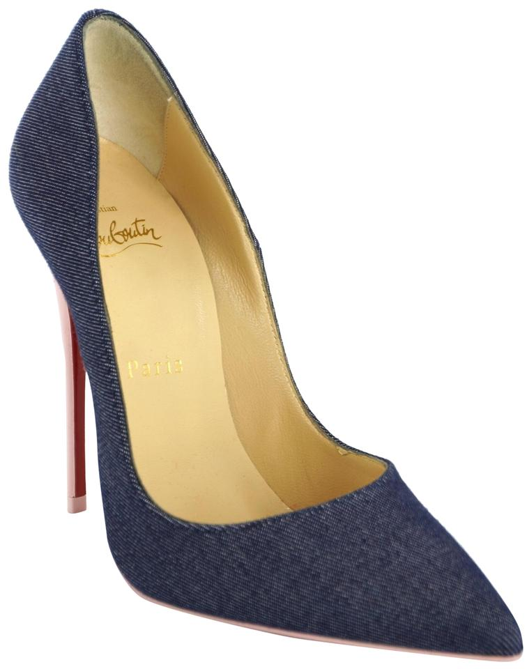 164769df349 Christian Louboutin Blue So Kate Denim Pink Patent 120mm Pointy Toe High  Pumps