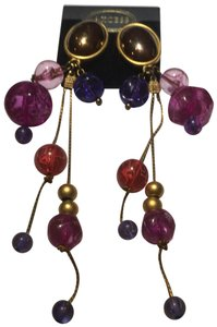 Axcess Vintage Axess pink beaded gold chain earrings