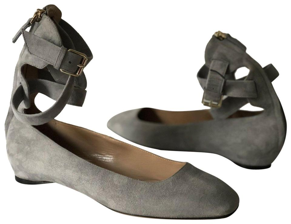 cozy fresh latest discount classic style Valentino Grey Suede Leather Ballerina Lace Up Flats 37.5 Mules ...