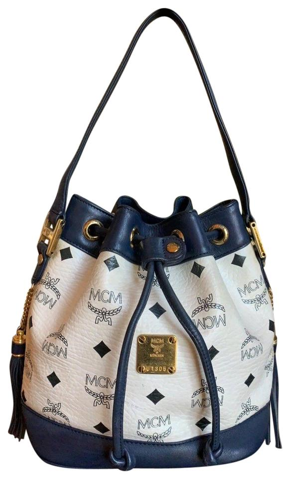 660a18ac1d8d MCM Bucket Leather Gucci Monogram Satchel in White   Navy Blue Image 0 ...