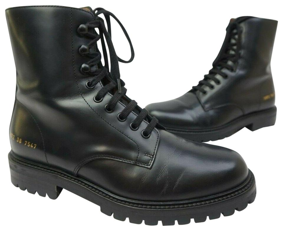 d9a01642c2c8a Common Projects Black Leather Combat Lug Sole Boots Booties Size EU ...