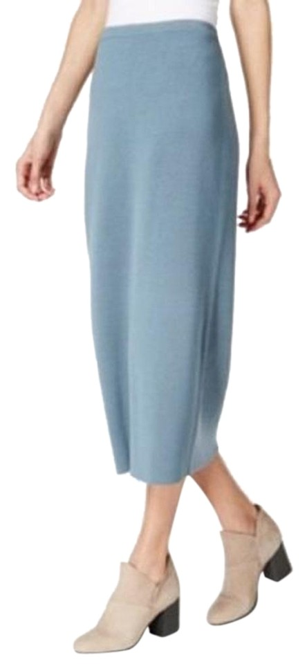 a9ae82f788 Eileen Fisher Blue Steel Cotton Interlock Pencil Skirt Size 4 (S, 27 ...