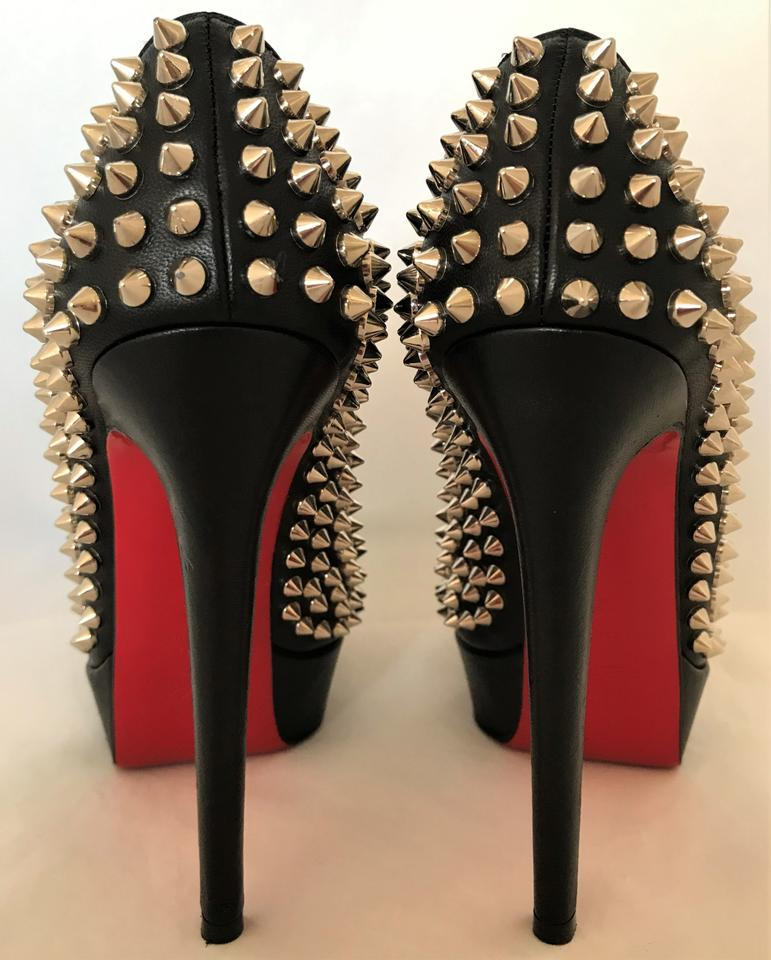 66ce5b90bf9 Christian Louboutin Black Box Bianca Spikes 37it Leather Platform High Heel  Red Sole Lady Toe Pumps Size EU 37 (Approx. US 7) Regular (M, B)