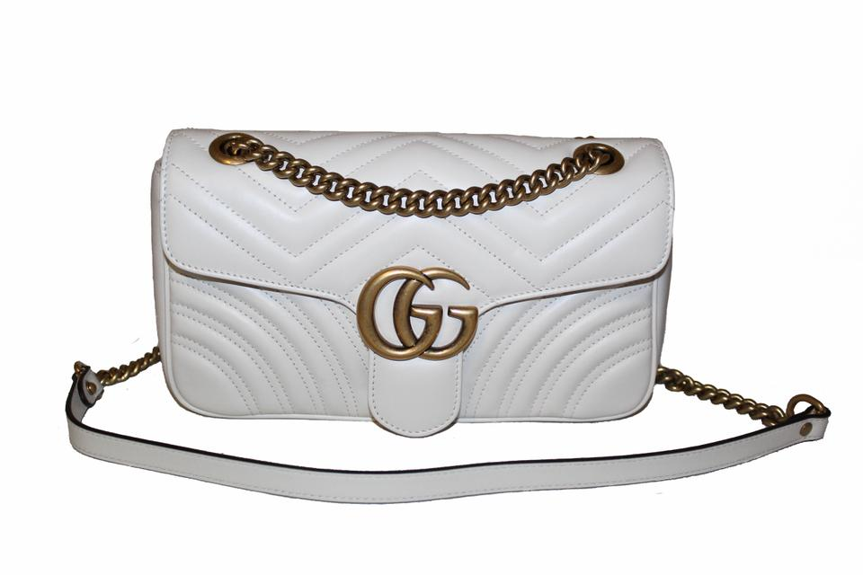 709354551 Gucci Marmont Gg Small Matelasse White Leather Shoulder Bag - Tradesy