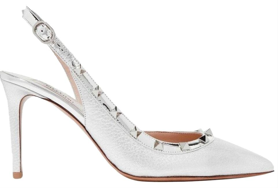 3ae0061d2499 Valentino Studded Pointed Toe Leather Ankle Strap Branded Insole silver  Pumps Image 0 ...