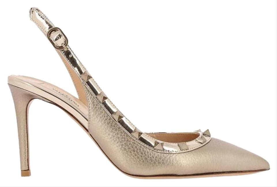 737540fccc75 Valentino Studded Pointed Toe Leather Ankle Strap Branded Insole gold Pumps  Image 0 ...
