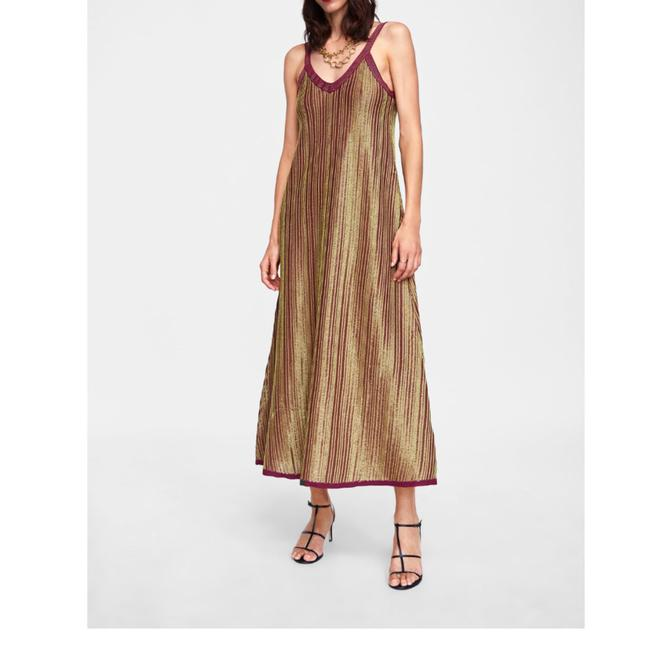 Zara Burgundy New Limited Edition Metallic Mid-length Casual Maxi Dress Size 8 (M) Zara Burgundy New Limited Edition Metallic Mid-length Casual Maxi Dress Size 8 (M) Image 1