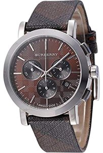 Burberry New Burberry Watch, Men's Chronograph Brown Check Leather 40mm BU1776
