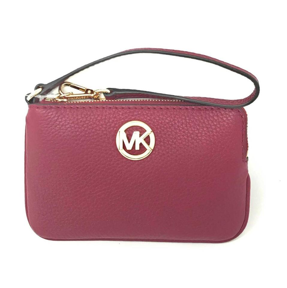 1b9c4d520d34c Michael Kors Medium Fulton Top Zip Pebbled Mulberry Leather Wristlet ...