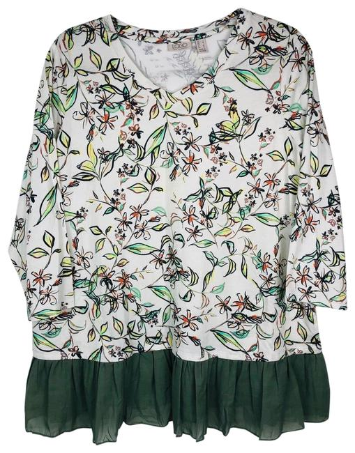 Item - White Green Floral Ruffle Blouse Size 12 (L)