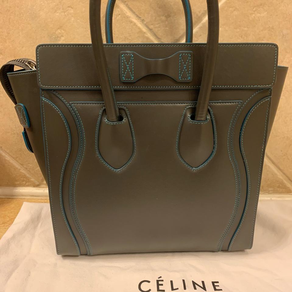 56771e833c Céline Luggage Micro Dark Grey with Teal Glazed Edges and Dark Brown  Interior. Silver Heat Stamp and Hardware. Leather Tote