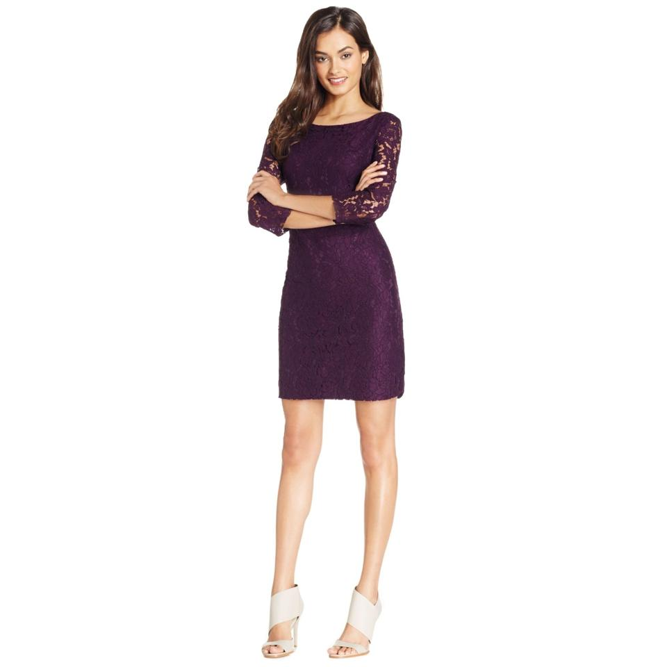 Vince Camuto Eggplant Lace Sheath Short Night Out Dress Size 10 M 53 Off Retail