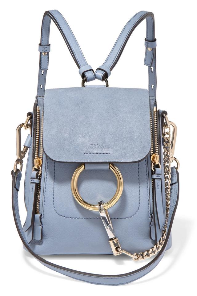1a3ab9d5 Chloé Faye Mini Washed Smooth and Calfskin Blue Suede Leather Backpack 34%  off retail