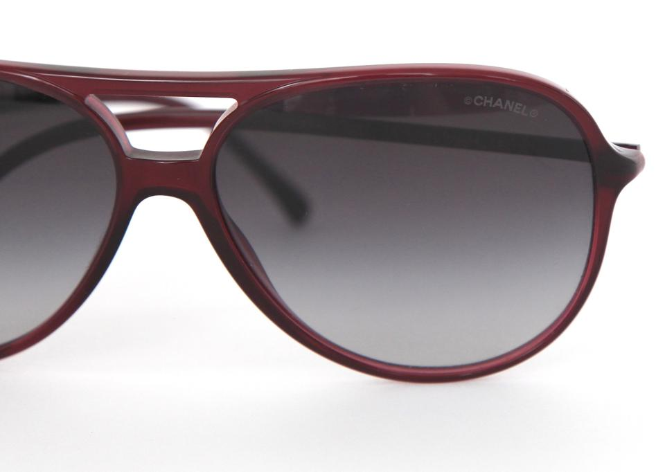 eaa6a49432b6a Chanel CHANEL Red Aviator Sunglasses Acetate Frame Gradient Black Lens 5287  Image 5. 123456