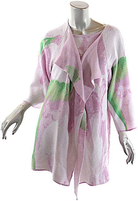 Item - Pink Multi Color Twinset Lilac Green Cashmere Silk Blend Cardigan Size 16 (XL, Plus 0x)