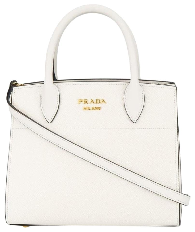 aadcd1a552f2d Prada Mini Bibliotheque Handbag 1ba071 White Leather Cross Body Bag ...