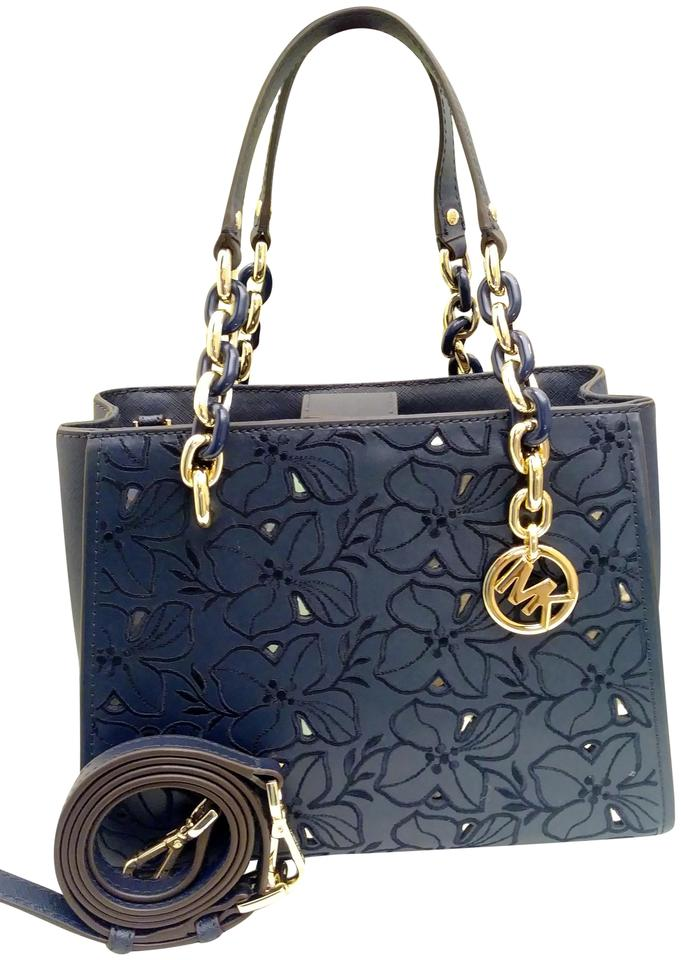 09640db4198 MICHAEL Michael Kors Sofia Perforated and Embroidered Medium Navy Blue  Leather Tote