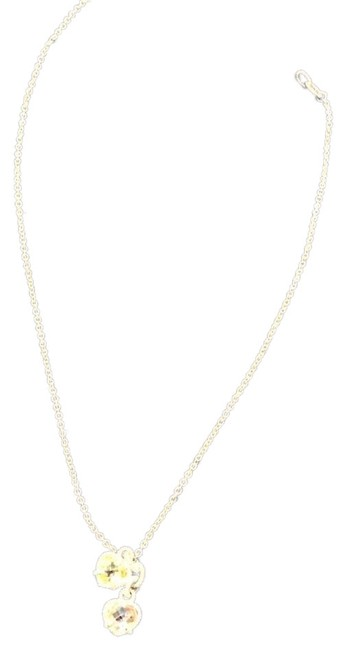 Item - Silver Chain with Pink and Yellow Gemstones Two Hearts Pendant Necklace
