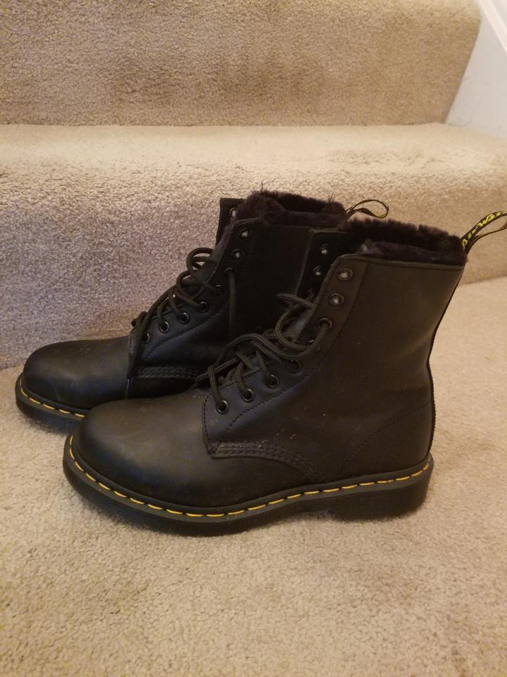 a940ed226e9a Dr. Martens Black Fur Lined 1460 Serena Wyoming Boots Booties Size ...