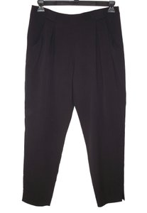 Theory Kissan Silk Pleated Tapered Ankle Relaxed Pants Black