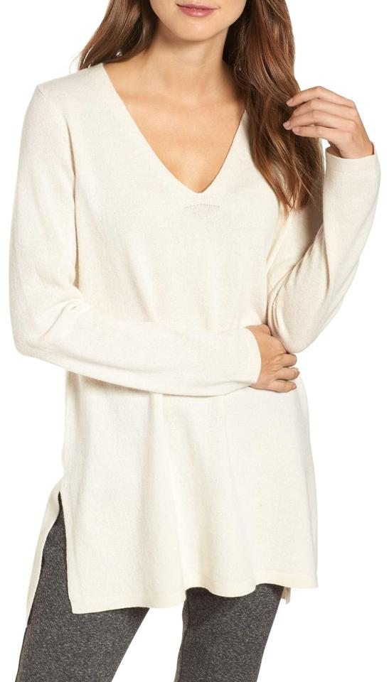 a03fbacc6b Eileen Fisher L Lofty Recycled Cashmere V Neck Tunic Soft White Sweater