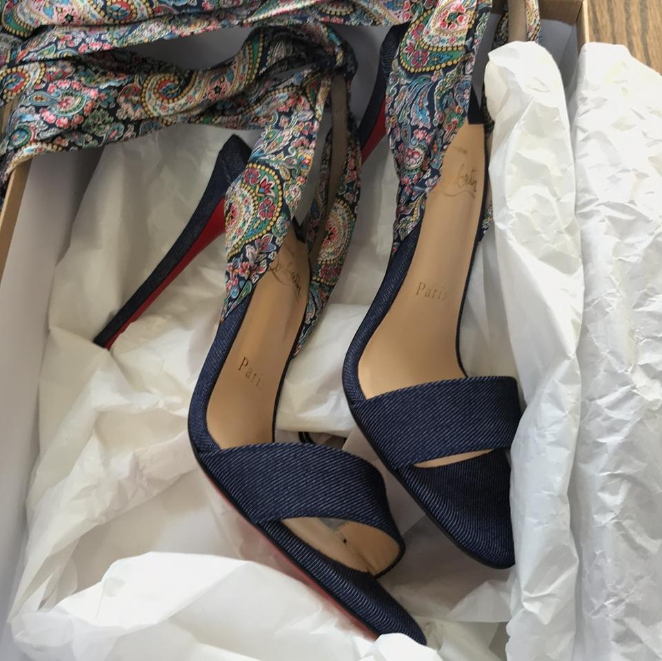 los angeles 8c86d 9ac52 Christian Louboutin Blue Sandale Du Desert Denim Dating Ribbon Sandal Pumps  Size EU 36 (Approx. US 6) Regular (M, B) 29% off retail