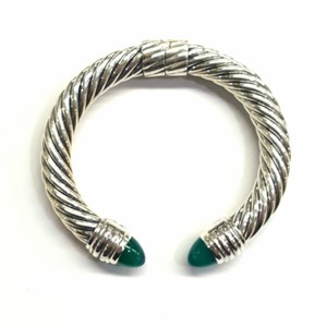 David Yurman GORGEOUS!! David Yurman Sterling Silver Green Onyx 10mm Hinged Cable Cuff Bracelet