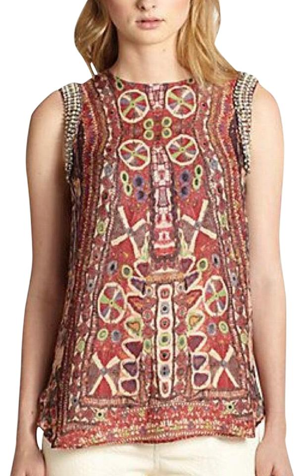 6d3999bc621148 Haute Hippie Multicolor Embellished Silk Print Sleeveless Blouse ...
