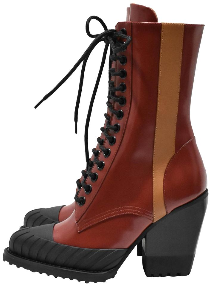 4d81ee31 Chloé Red Brown Lace Up Leather Boots/Booties Size EU 37 (Approx. US 7)  Regular (M, B) 39% off retail