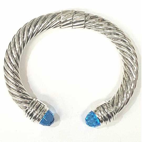 David Yurman GORGEOUS!! David Yurman Sterling Silver Blue Topaz 10mm Hinged Cable Cuff Bracelet