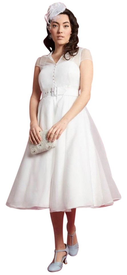 c11ea3ca0cb1 Modcloth White Fantasy Fulfilled Vintage Inspired Fit and Flare Midi Formal  Dress