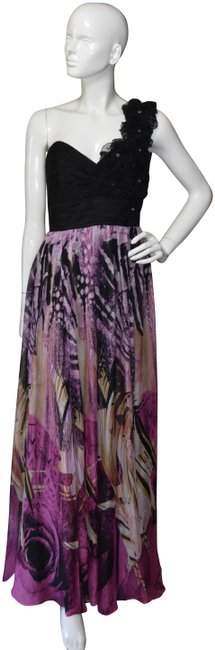 Item - Multicolor One-shoulder Floral Design Ruffled Chiffon Gown Long Cocktail Dress Size 10 (M)