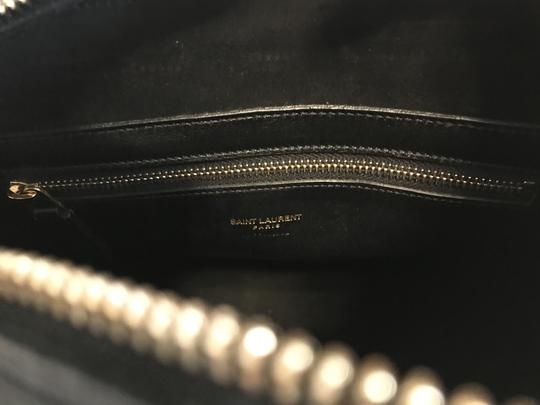 Saint Laurent Gold Hardware Satchel in Black