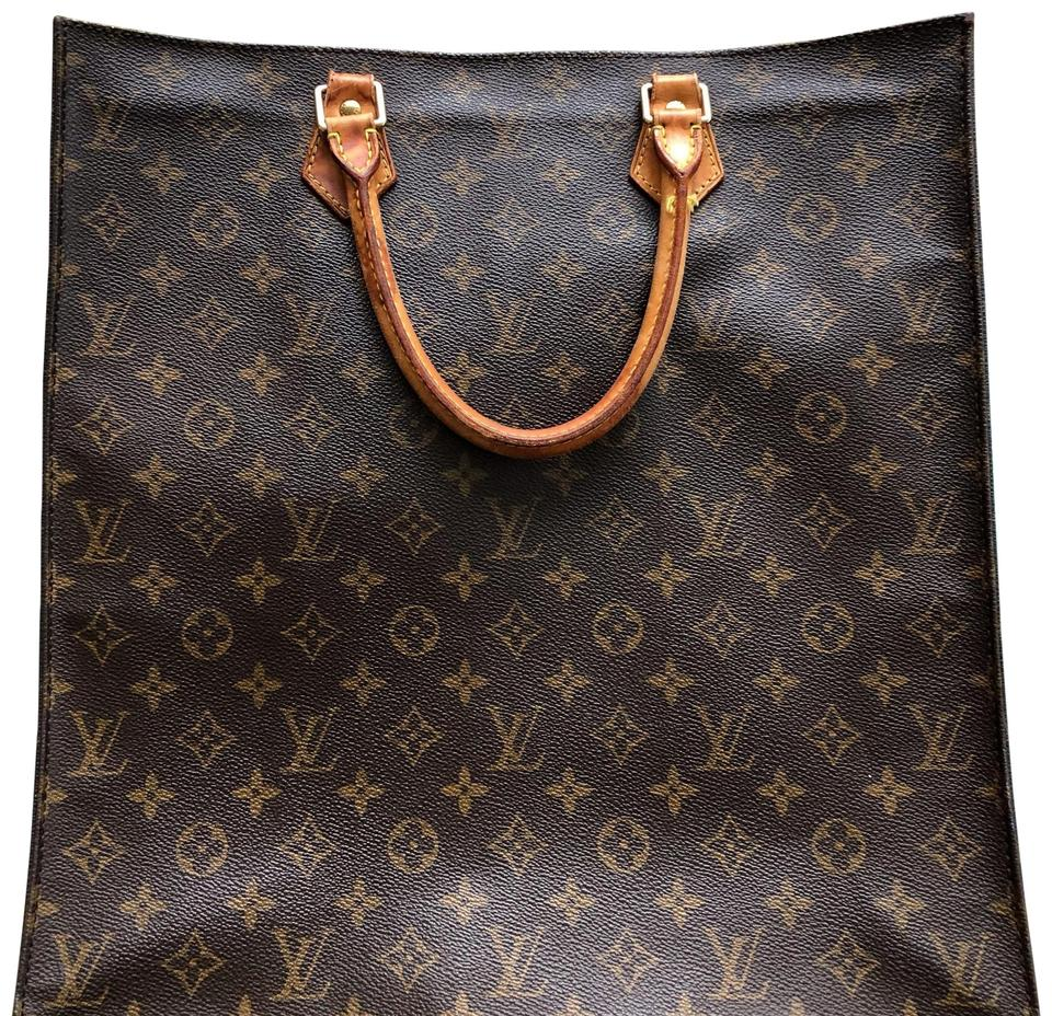605fff4f6e00 Louis Vuitton Sac Plat Monogram Canvas Brown Leather Tote - Tradesy