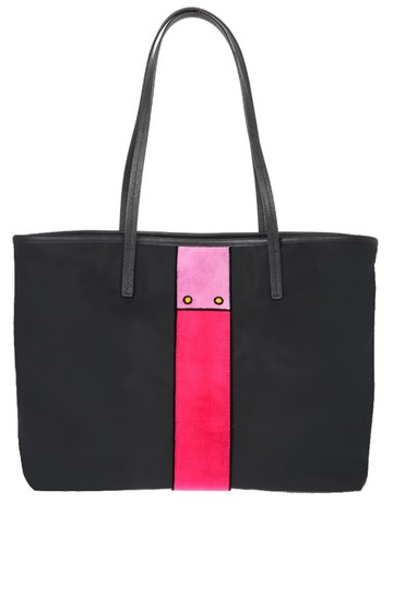 Prada Nylon Velvet Messenger Tote in Black